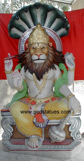 Narsimha Sitting with Blessing Four Arms 447x850