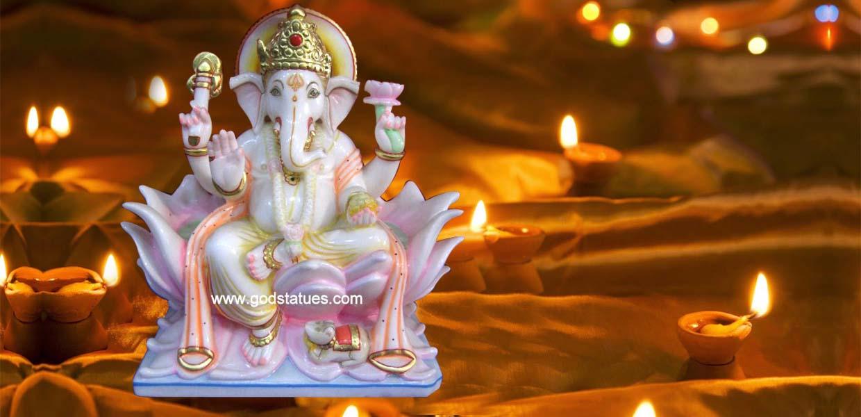 Ganesha marble statues