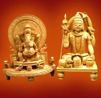 wooden-shiva-ganesh